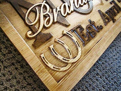 3d Personalized Family Name Signs HORSESHOE CARVED Custom Wood rustic Sign Last name Wedding Gift for couple Established house ranch barn Stall horse personalized sign Horseshoe plaque