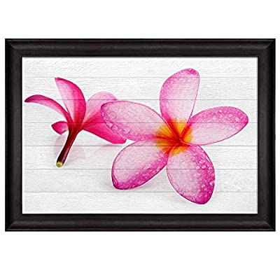 Elegant Artisanship, Pink Hawaiian Plumeria Flower Over White Wooden Panels Nature Framed Art, Made With Love