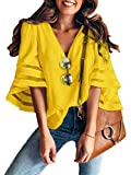 Women 3/4 Bell Sleeve V Neck Lace Patchwork Blouse Casual Loose Shirt Tops (X-Large, 3/4 Bell Sleeve Yellow)