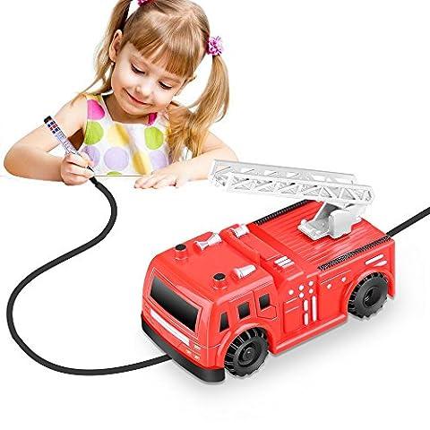 Kaerdun Inductive Train Toy Magic Mini Car Follow Drawn Black Line for Kids (FireTruck) - Optical Sensor Line