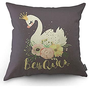 Moslion Swan Pillows Decorative Throw Pillow Cover White Dreaming Queen Swan Princess with Crown Floral Flowers Bouquet Pillow Case Cotton Linen for Home Sofa Square Cushion 18x18 Inch Purple