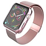 SUPBAND Band with Case (Rose Pink) Compatible with Apple Watch Series 4 40mm, Case - Transparent TPU Screen Protector, Ultra-Slim, and Band - Adjustable, Durable Stainless Steel Strap for iWatch