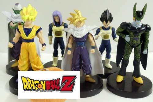 Dragon Ball Z Figure Set Featuring 6 Dragon Ball Z Figures Including Gohan, Piccolo, Trunks, Cell, Vegeta, and Goku