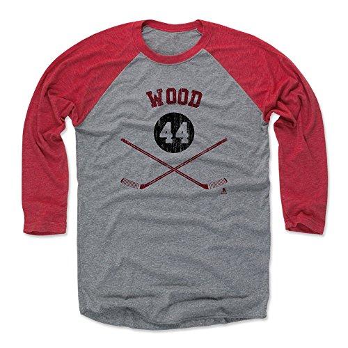 500 LEVEL Miles Wood Baseball Shirt Medium Red/Heather Gray - New Jersey Hockey Fan Apparel - Miles Wood New Jersey Sticks R