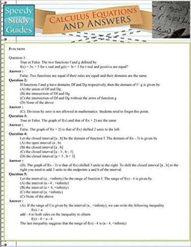 Calculus Equations and Answers (Speedy Study Guides