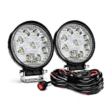 Nilight NI-07 2PCS 27W Round Spot Driving Lamp Jeep Fog Lights with Off Road Wiring Harness-2 Leads, 2 Years Warranty, 2 Pack