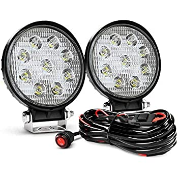 White Painted 4inch 27W Round LED Work Light 2430 Lumens for 4X4 UTV RZR Teryx Rhino Jeep Tractor Truck fork lifter Boat Flood Pack of 2 60 Degree