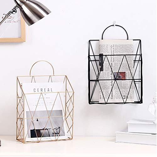 AIYoo File Holder Metal Organizer,Gold Wire Wall Bin Magazine Rack Holder,Storage Basket for Magazine,Books, Newspapers - Modern Office Home Supplies and Decorations. by AIYoo (Image #4)