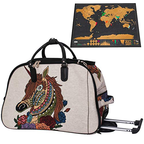 Unicorn Travel Bag Rolling Suitcase with Scratch Off Map of the World Bundle