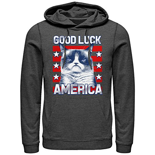 Grumpy Cat Election Good Luck America Mens Graphic Lightweight Hoodie