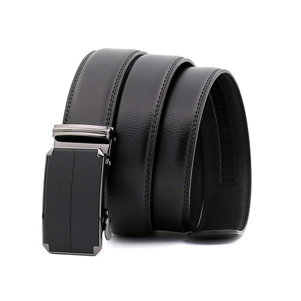 DENGDAI Leather Mens Belt Automatic Buckle Belt Leather Belt Belt Length 110-130cm