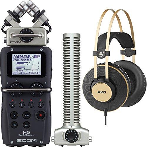 Zoom H5 Handy Digital Recorder Bundle with SGH-6 Shotgun Capsule and AKG K92 Closed-Back Headphones Akg Studio Monitoring Headphones