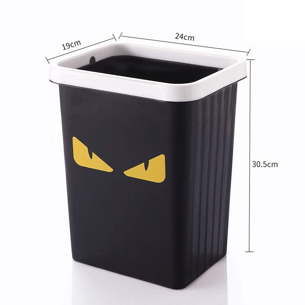 Fmn Bote de Basura Tubo de Almacenamiento Sin Tapa Tapa Tapa con Anillo de presión Hogar Sala de Estar Cocina Baño Oficina Negro (Tamaño : 24cmX19cmX30.5cm) ac1b89