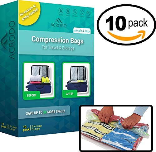 Acrodo Space Saver Compression Bags 10-pack for Packing and Storage - No Vacuum Rolling Ziplock for Clothing, Travel, Organizing, Luggage, and Suitcase