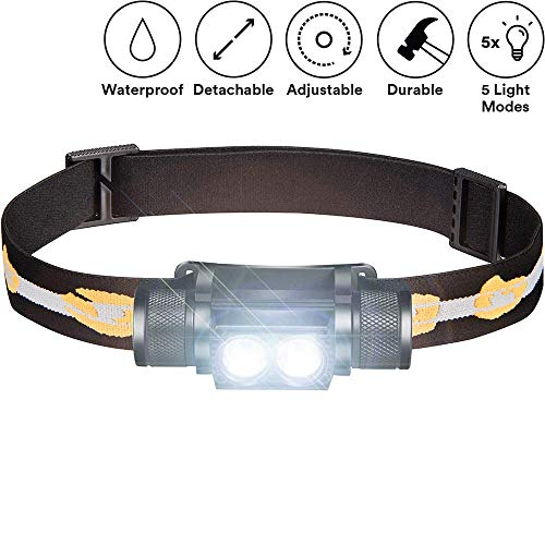 SLONIK 1000 Lumen Rechargeable 2x CREE LED Headlamp w/ 2200 mAh Battery - Lightweight, Durable, Waterproof and Dustproof Headlight - Amazing 220-yards Beam - Great as Camping and Hiking Gear
