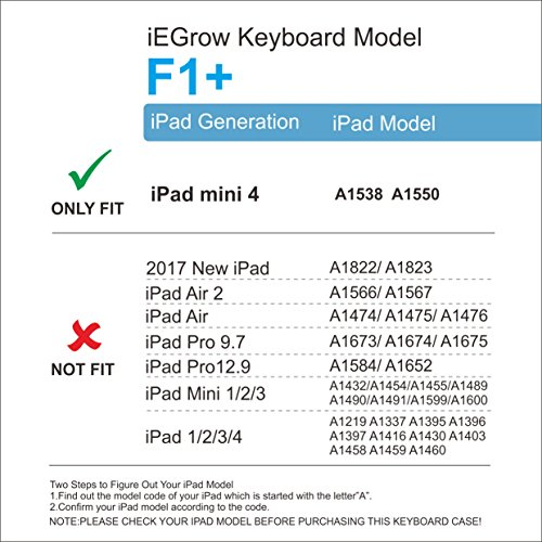 iPad Mini 4 Keyboard Case, iEGrow F1+ Ultra Slim Clamshell Lightweight Keyboard Case for iPad Mini 4 Model A1538/A1550
