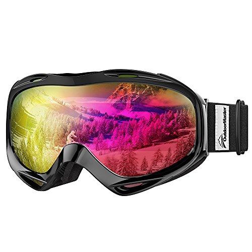 OutdoorMaster OTG Ski Goggles - Over Glasses Ski / Snowboard Goggles for Men, Women & Youth - 100% UV Protection (Black Frame + VLT 13.2% Grey Lens with Full REVO Pink)