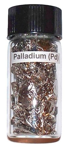Palladium Leaf - Palladium Metal Leaf Element Sample in Glass Vial - Great for Collections, Displays, Education and Gifts