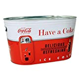 Coca Cola Large Indoor/Outdoor Galvanized Steel Party Tub/Chest Cooler with 2 Cutout Side Handles