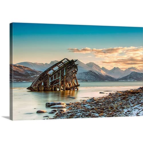 Gallery-Wrapped Canvas Entitled Old Viking Shipwreck in Tisnes, Norway Great Big Canvas ()