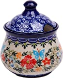 Polish Pottery Ceramika Boleslawiec,  0051/238, Sugar Bowl Iza, 1 Cup, Royal Blue Patterns with Red Cornflower and Blue Butterflies Motif