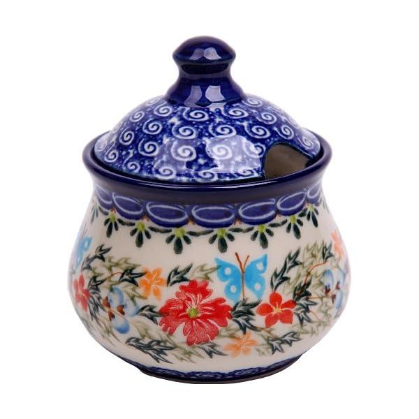 Polish Pottery Ceramika Boleslawiec, 0051/238, Sugar Bowl Iza, 1 Cup, Royal Blue Patterns with Red Cornflower and Blue Butterflies Motif