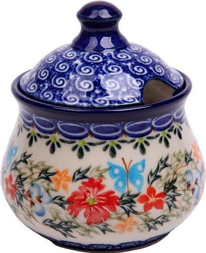 (Polish Pottery Ceramika Boleslawiec,  0051/238, Sugar Bowl Iza, 1 Cup, Royal Blue Patterns with Red Cornflower and Blue Butterflies Motif)