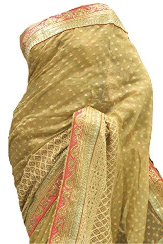 RUBS2805 Agradable oro y Coral Partido Sari Bollywood Indian Designer Party Saree Oro