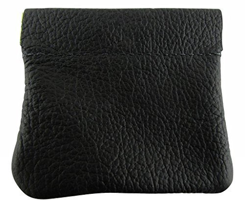 North Star Men's Leather Squeeze Coin Pouch Change Holder 3.25 X 3 X 0.25 Inches Black