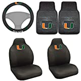 FANMATS NCAA University of Miami Hurricanes Polyester Steering Wheel Cover with 2 Polyester Seat Cover and Vinyl Heavy Duty Car Mat