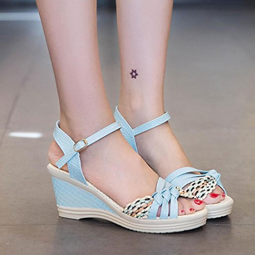 Toe Negro Zapatos Zapatos Cuñas Verano Mujer WINWINTOM alto de Plataforma Señoras tacón Verano Mujer Sandalias Sandalias qF4ZTvg
