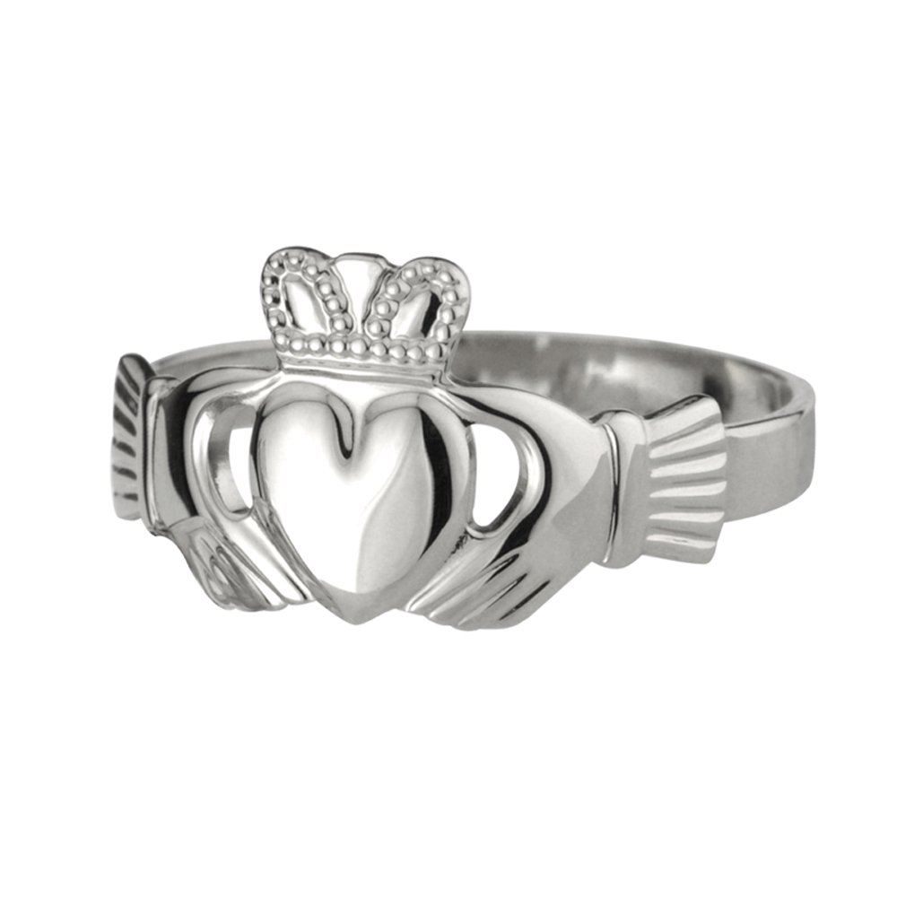 Failte Mens Claddagh Ring Sterling Silver Puffed Band Made in Ireland Size 8