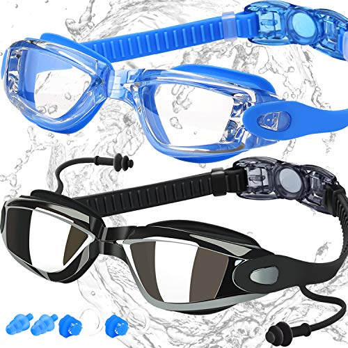 f 2, Swimming Goggles for Adult Men Women Youth Kids Child, Triathlon Equipment, with Mirrored & Clear Anti-Fog, Waterproof, UV 400 Protection Lenses, Made by COOLOO, Black/Blue ()