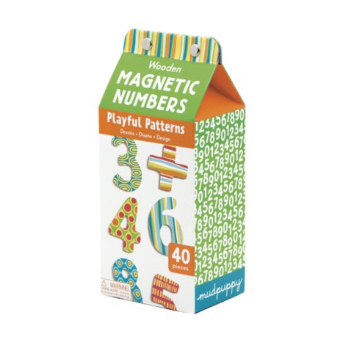 Mudpuppy Playful Patterns Wooden Magnetic Numbers Set - Practice Math Skills with 40 Colorful Wooden Numbers for Ages 3+