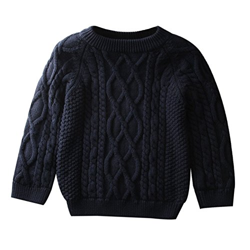 Toddler Baby Boy Girl Cable Knit Pullover Sweater Warm Sweatshirt blue 80