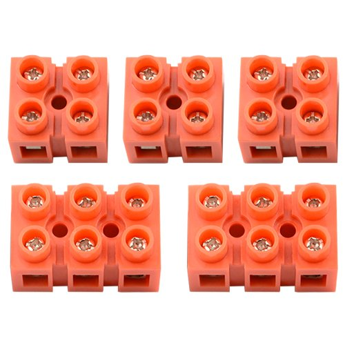XLX 5Pcs 600V 36A 2 Position 3 Position Double Row Screw Terminal Block Environmental Friendly Flame Retardant Nylon Terminal Barrier Block Connector for All Wide Use(Red)