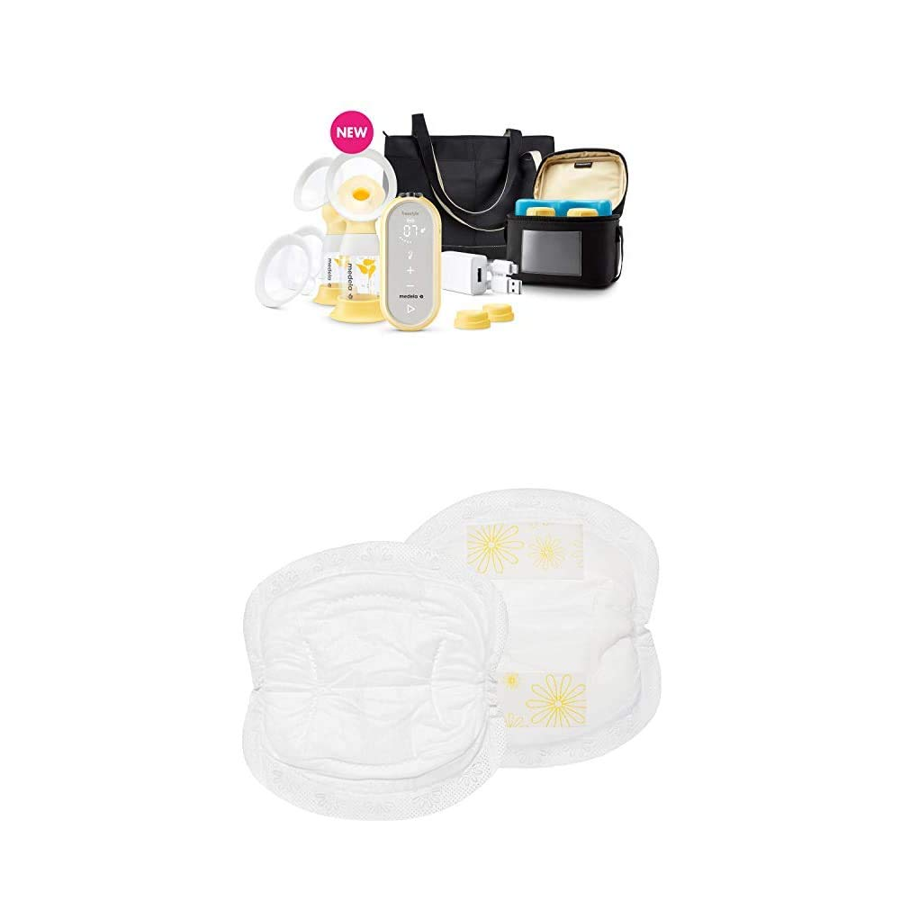 Medela Freestyle Flex Breast Pump and Super Absorbency Disposable Nursing Pads 60 Count, Closed System Quiet Portable Smart Breastpump, Bra Pads for Leak Protection, Double Adhesive Keeps Pads Secure