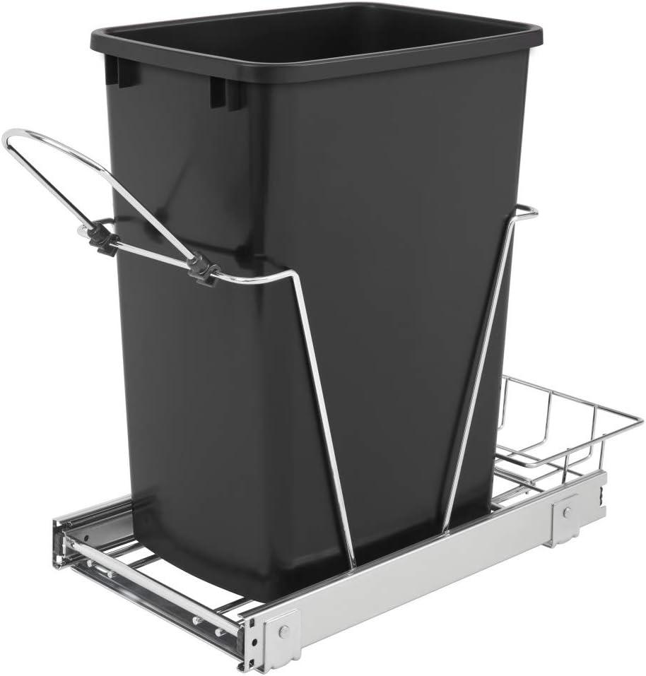 Contenedor de basura individual extraíble de Rev_a-Shelf, de 35 cuartos, de color negro, chapado en cromo y con cesta trasera