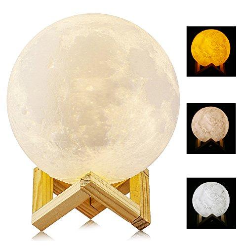 (5.9 Inch 15cm 3D Printed Moon Light, ALED LIGHT Diameter Lunar Night Light Lamp Dimmable 3 Color Selectable Bedroom Decor USB Charging Mood Light for Bedroom Cafe Bar Dinning Room)