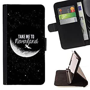 DEVIL CASE - FOR Samsung Galaxy Note 4 IV - Take Me To Moon Sky Cosmos Love - Style PU Leather Case Wallet Flip Stand Flap Closure Cover