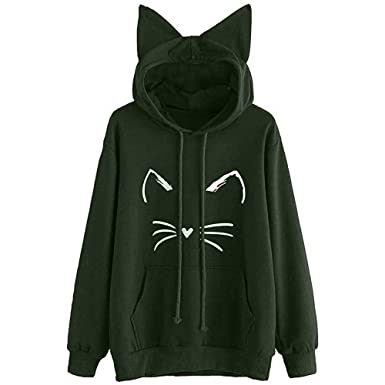 NREALY Womens Cat Ear Solid Long Sleeve Hoodie Sweatshirt Hooded Pullover Tops Blouse(Green,
