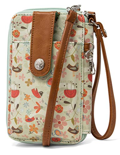 MUNDI Jacqui Vegan Leather RFID Womens Crossbody Cell Phone Purse Holder Wallet (Be A Flower)