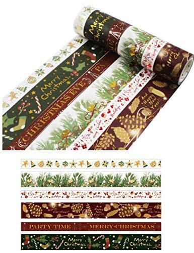 HIYOU-Home Japanese Hot Stamping Christmas Washi Tape -Set of 6 (Hot Stamping Christmas)