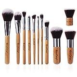 EmaxDesign® Makeup Brushes Professional 11 Piece Makeup Brush Set Bamboo Handle Foundation Blending Blush Eyeliner Face Liquid Powder Cream Cosmetics Brushes Tool Kit With Breathable Bag