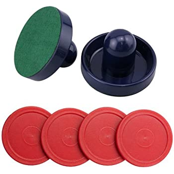 Blue Air Hockey Pushers Set of 2 and 4 Red Pucks by Jollylife