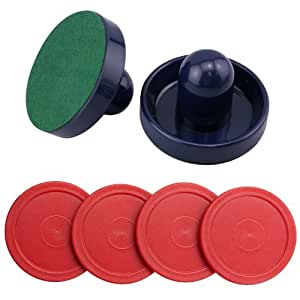 jollylife Blue Air Hockey Pushers Set of 2 and 4 Red Pucks