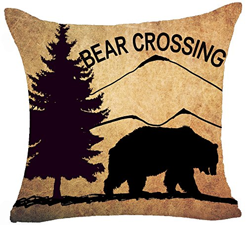 Pine Forest Bear - Retro Vintage Background Wildlife Pine Tree Mountains Bush Black Bear Bear Crossing Cotton Linen Throw Pillowcase Personalized Cushion Cover NEW Home Office Decorative Square 18 X 18 Inches