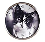 Cheap Luckly candy Cute Cat theme Background Super Silent Wall Clock Quiet Sweep Decorative Clocks (12Inch, Silver2)
