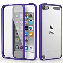 iPod Touch 6 Case, iPod Touch 5 Case, MoKo Shock Absorbing TPU Bumper Ultra Slim Clear Protective Case with Anti-Scratch Hard Back Cover for Apple iPod Touch 6th / 5th Generation - Purple