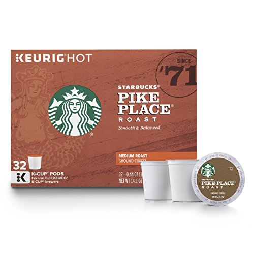 - Starbucks Pike Place Roast Medium Roast Single Cup Coffee for Keurig Brewers, 1 box of 32 (32 total K-Cup pods)